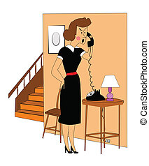 woman getting upset on phone - retro woman getting upset on...