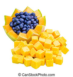 Cheese and fruit appetizer for wedding buffet with cheddar...