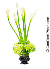 Wedding flower arrangement centerpiece with calla lily and...