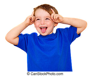 Kid making funny expression isolated on white - Kid making...