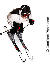 Female Skiing - Female in warm winter clothing having some...