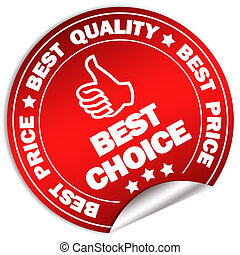 Best choice label isolated on white