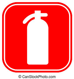 Fire extinguisher sign isolated on white