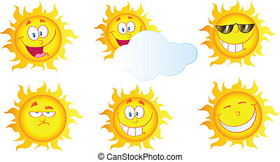 Different Sun Cartoon Mascot Characters.Collection