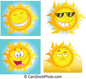 Different Sun Cartoon Characters - Illustration Of Different...