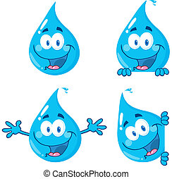 Blue Water Drops - Water Drop Cartoon Mascot Characters...