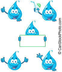 Water Drop Cartoon Characters - Water Drop Cartoon Mascot...