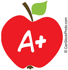 Apple With A  - Red A Plus School Apple Cartoon Character