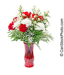 Christmas color flower arrangement isolated on white