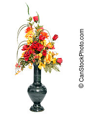 Fall color silk flower arrangement isolated on white