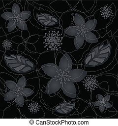 Seamless black floral wallpaper - Seamless black and silver...