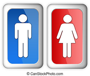Man woman restroom signs over white