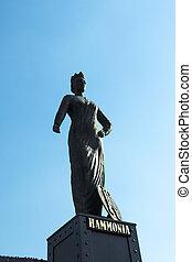statue of Hammonia at the  Brooks Bridge of Hamburg