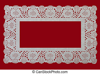 Lace doily frame over red - festive - Pretty paper cake...
