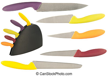 set of knives for the kitchen isolated on a white background...