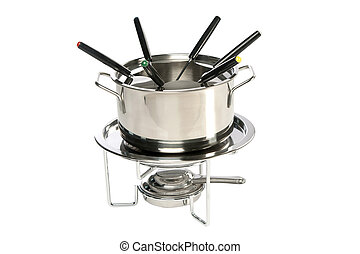 fondue set - inox fondue set with silver colored forks