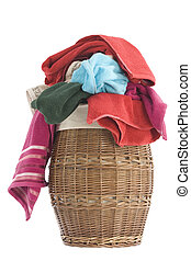 Laundry Basket and towels - colorful towels in a basket...