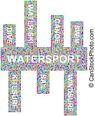 Sport and Water keywords into a mosaic of coloured squares