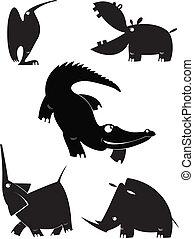 シルエット, ベクトル, 動物,  collectio