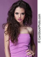 Beautiful Brunette Girl. Long Curly Hair