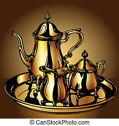 set festive with teapot and dairyman from gold -...