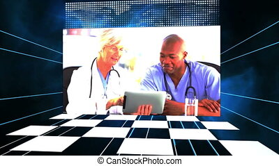 Video of doctors using tablet compu - Animation of doctors...