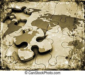 Grunge world jigsaw