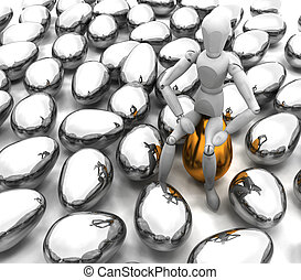 Person sitting on golden egg - 3D render of someone sitting...