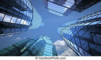 business background, skyscrapers and sky
