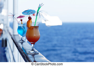 Cocktails on a cruise ship in the summer