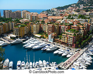 View of luxury yachts in harbor of Monaco