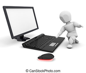 Person using computer - 3D render of someone using a...