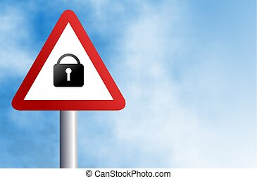 padlock sign - traffic warning sign with a padlock icon...