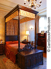 a luxury antique Chinese style bedroom in Casa Loma,...