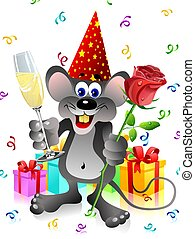 Party rat - party rat with red rose and champagne glass on...