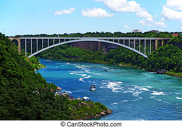 The rainbow bridge-national border between USA and Canada -...