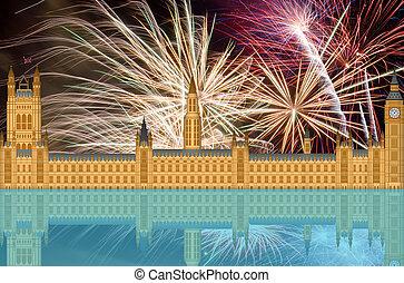 UK England London Skyline with Fireworks - UK London England...