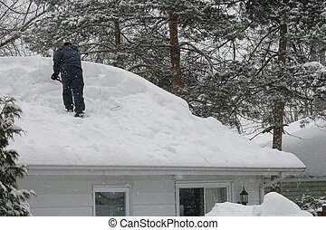 shoveling  the roof - a  man shoveling the roof