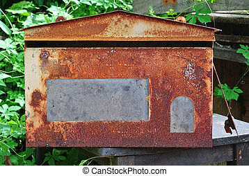 Red old mailbox isolated on white background