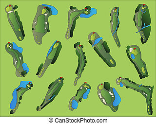 Golf Course Hole Layouts - Golf Course Aerial Illustrations