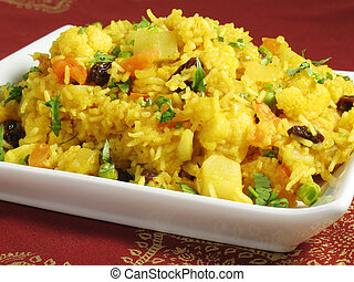 Biryani - A colorful Indian rice dish made from basmati...