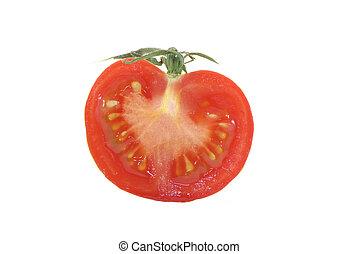 TOMATOE CUT IN HALF ON A WHITE BACKGROUND