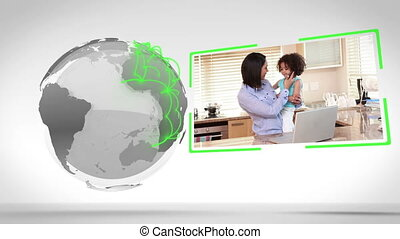 Family videos with Earth image cour - Animation of family...