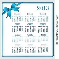 Calendar 2013 and bow - Calendar 2013 year with a blue bow