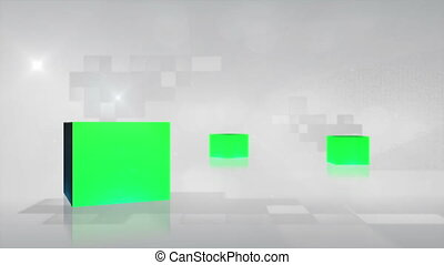 Cubes with chroma key turning - Animation of cubes with...