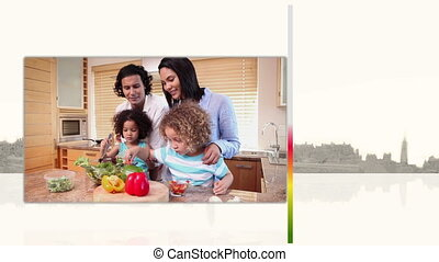 Videos of families cooking - Animation of videos of families...