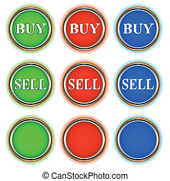Green red and blue buttons - Three groups of buttons in...