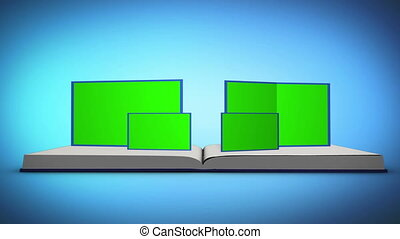Book with chroma key screens - Animation of book with chroma...