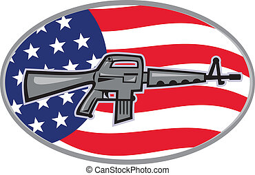 Armalite M-16 Colt AR-15 assault rifle flag - Illustration...