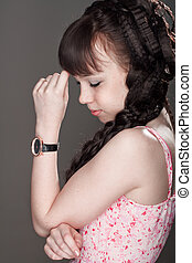 pensive girl - beautiful pensive girl with eyes closed and...